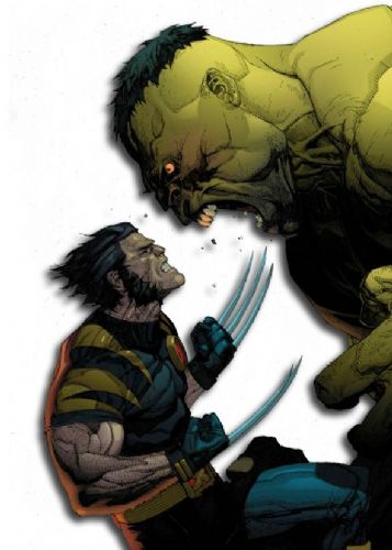 THE HULK - Vs WOLVERINE - WHITE canvas print - self adhesive poster - photo print